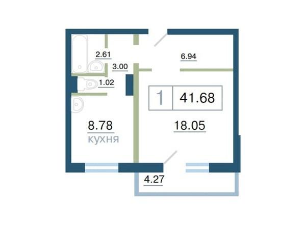 Планировка 1-комн 41,68 м²