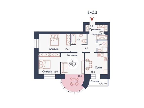 Планировки Жилой комплекс SCANDIS (Скандис), дом 8 - Планировка трехкомнатной квартиры 95,5 кв.м
