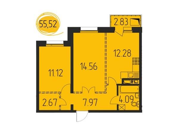 2-комнатная 55,52 кв.м