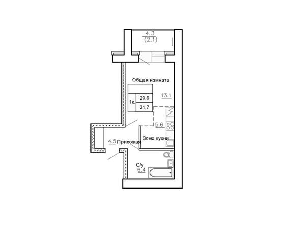Планировки Жилой комплекс НОВАЯ ПРИСТАНЬ, 4 - Планировка однокомнатной квартиры 31,7 кв.м