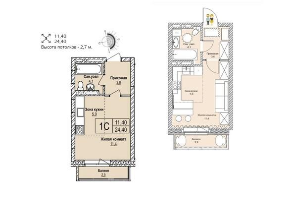 Планировки Жилой комплекс ЭВОЛЮЦИЯ, 1 оч, дом 2 - Планировка однокомнатной квартиры 24,4 кв.м