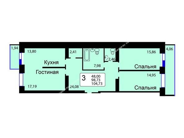 Планировки Жилой комплекс РЯБИНОВЫЙ САД, 3 оч, 2 этап - Б/С - 12. Планировка трехкомнатной квартиры 104,73 кв.м. Этажи 1-9.