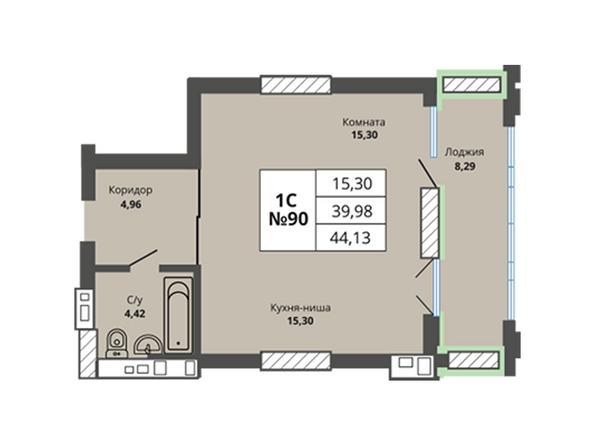 Планировки Жилой комплекс PRIME HOUSE (Прайм хаус) - Планировка однокомнатной квартиры 39,98 кв.м