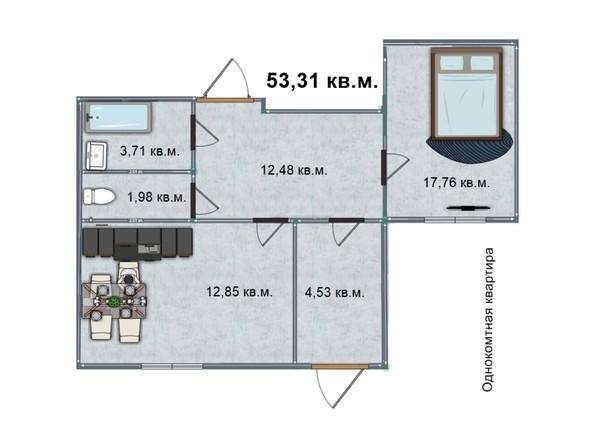 Планировка 1-комн 53,21, 53,31 м²