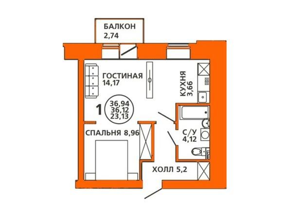 Планировка двухкомнатной квартиры 36,94 кв.м