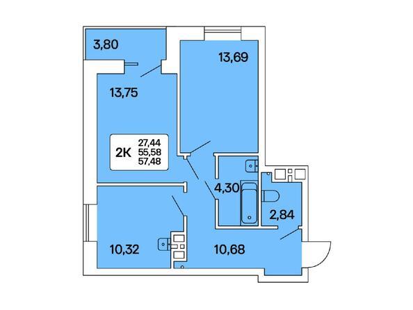 2-комнатная 57,48 кв.м