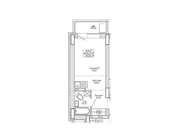 Планировка однокомнатной квартиры 20,86 кв.м