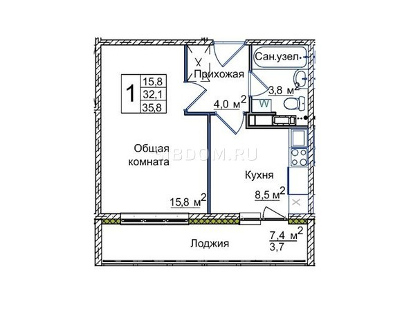 Планировки Жилой комплекс ВОСТОЧНЫЙ, 84/3 - 1-комнатная 35,8 кв.м