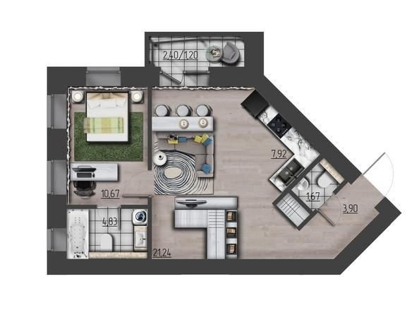Планировки Жилой комплекс ПРЕОБРАЖЕНСКИЙ, дом 9 - 2-комнатная 51,43 кв.м