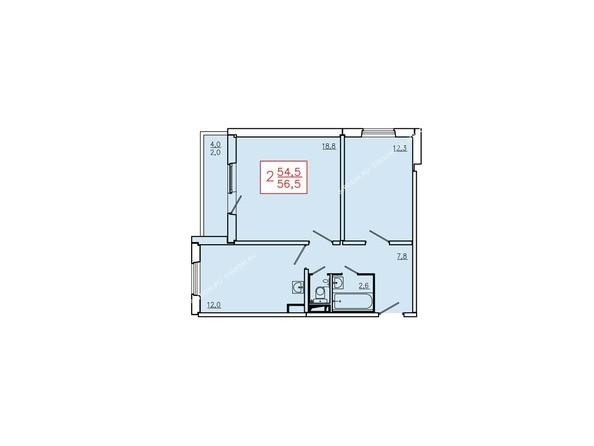 Планировки Жилой комплекс КУРЧАТОВА, дом 6, стр 2 - Планировка двухкомнатной квартиры 56,5 кв.м. Этажи 2-9
