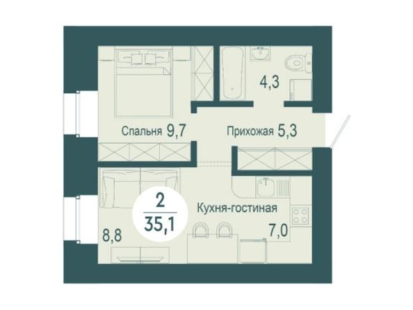 2-комнатная 35,1 кв.м