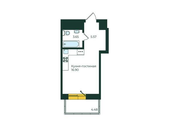 1-комнатная 30,6 кв.м
