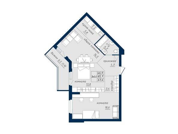 Планировка 3-комн 67,6, 67,9 м²