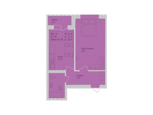 Планировки Жилой комплекс СЕВЕРО-ЗАПАДНАЯ, дом 5 - 1-комнатная 43,58 кв.м