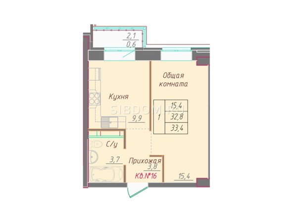 1-комнатная 33.4 кв.м