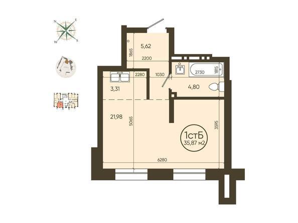 1-комнатная 35,87 кв.м