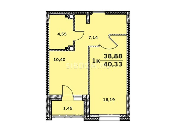 Планировка 1-комн 40,54 м²