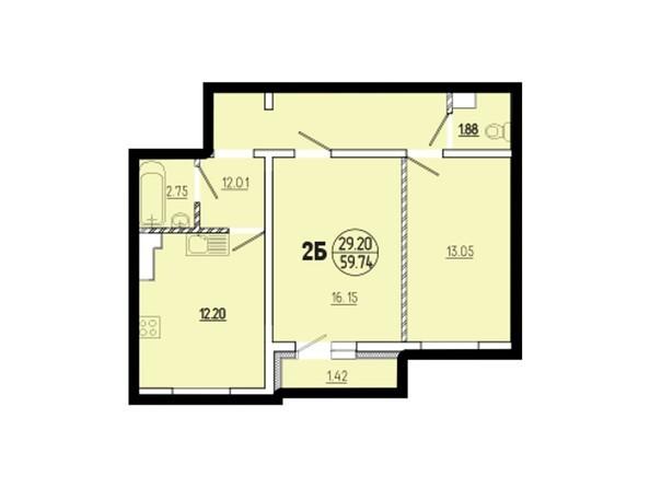 Планировки Жилой комплекс ЭВОЛЮЦИЯ, 1 оч, 1-9, 1-10 б/с  - Планировка двухкомнатной квартиры 59,74 кв.м