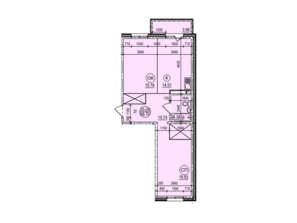 Планировка 2-комн 68,7 м²