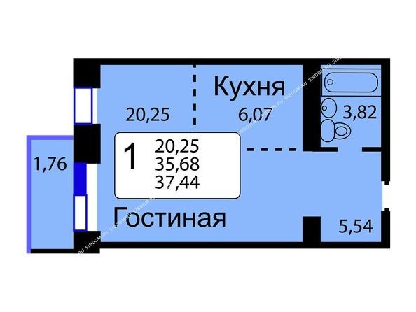 Планировки Жилой комплекс РЯБИНОВЫЙ САД, 3 оч, 2 этап - Б/С - 12. Планировка однокомнатной квартиры 37,44 кв.м. Этажи 10-16.