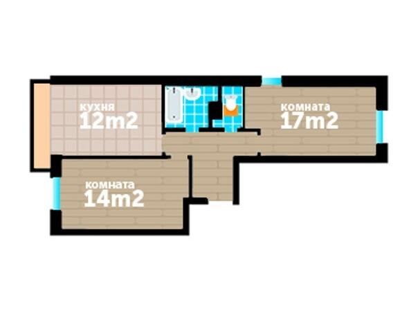 Планировки Жилой комплекс Артельный, 7 - Планировка двухкомнатной квартиры 62,2 кв.м