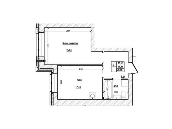Планировка 1-комн 36,8, 36,86 м²