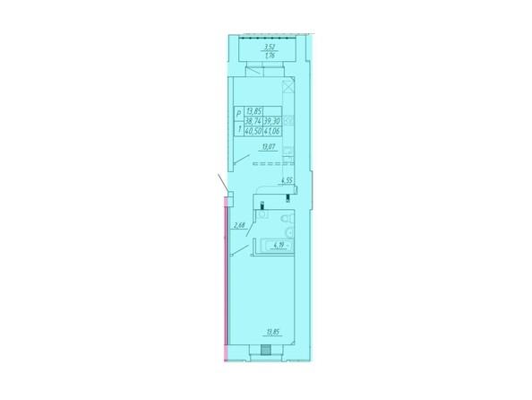 Планировка 1-комн 38,74 - 41,06 м²