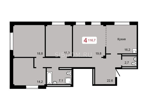4-комнатная 116,7 кв.м