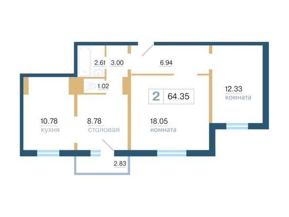 Планировка 2-комн 63,3, 64,35 м²