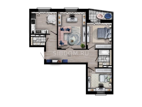 Планировка трехкомнатной квартиры 102,08 кв.м
