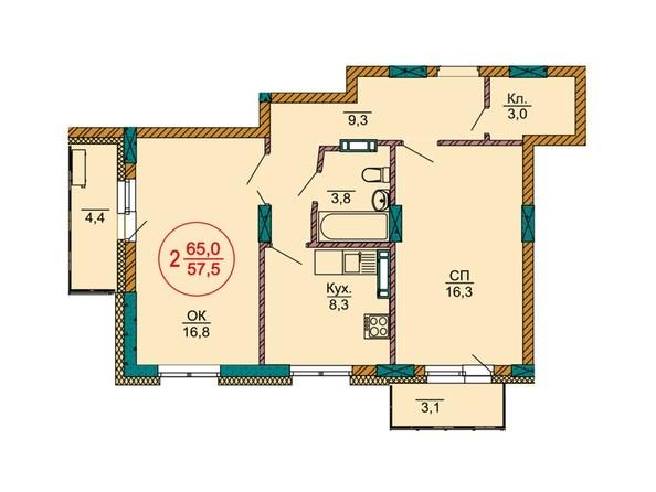 Планировки Жилой комплекс НОВЫЕ ЧЕРЁМУШКИ - Планировка двухкомнатной квартиры 65 кв.м
