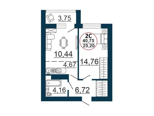 Планировка 2-комн 40,28, 40,75 м²
