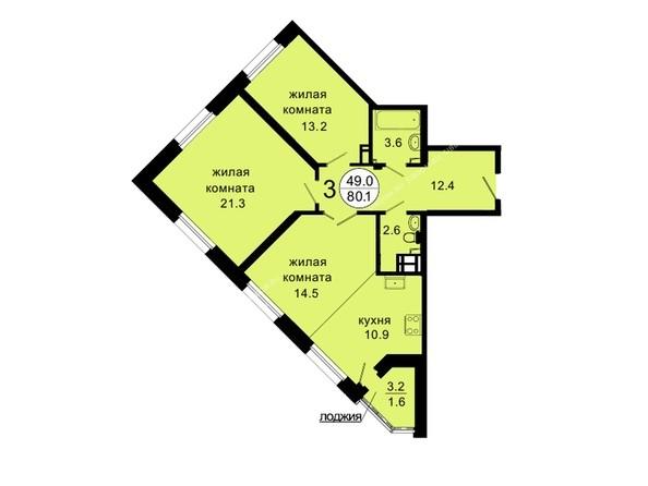 Планировки Жилой комплекс НОВАЯ ПАНОРАМА , дом 3 - Планировка трехкомнатной квартиры 80,1 кв.м