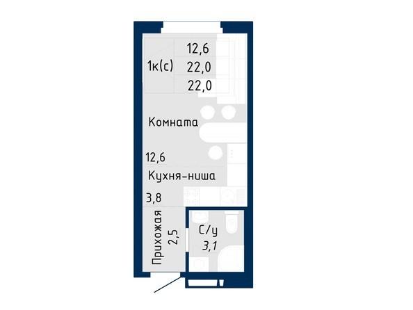 Планировка Студия 22 - 23,1 м²