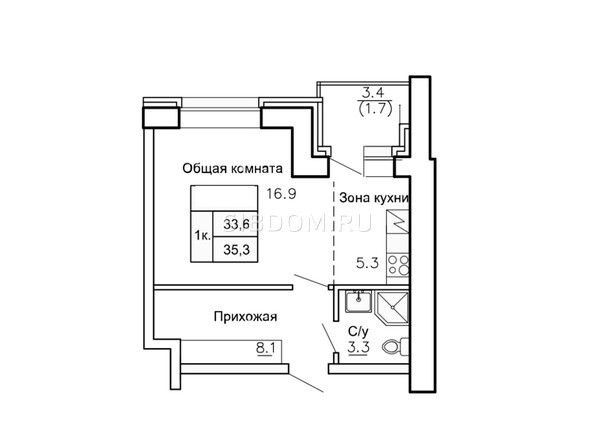 Планировки Жилой комплекс НОВАЯ ПРИСТАНЬ, 4 - Планировка однокомнатной квартиры 35,1 кв.м