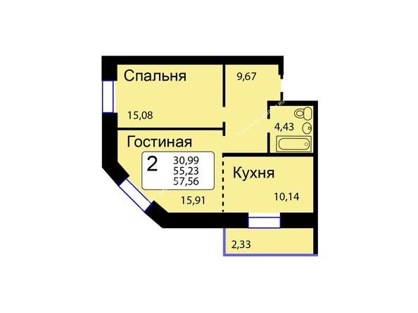 Планировки Жилой комплекс РЯБИНОВЫЙ САД, 3 оч, 2 этап - Б/С - 12. Планировка двухкомнатной квартиры 57,56 кв.м. Этажи 1-9.