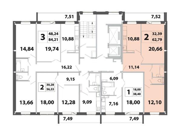 Планировки Жилой комплекс РАДОНЕЖСКИЙ, КПД-3 - Планировка двухкомнатной квартиры 62,79 кв.м
