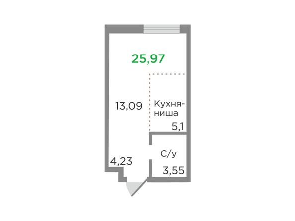 Планировки Жилой комплекс ЯСНЫЙ БЕРЕГ, дом 12 - Планировка однокомнатной квартиры 25,97 кв.м