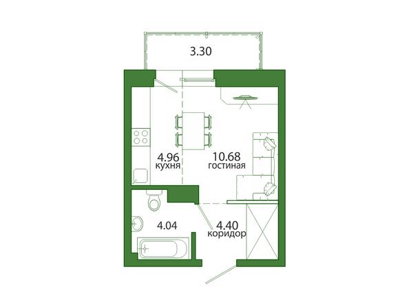 1-комнатная 27,37 кв.м