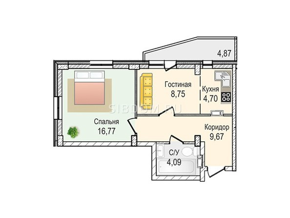 Планировки Жилой комплекс КрымSky, дом 7 - 2-комнатная 43,98 кв.м