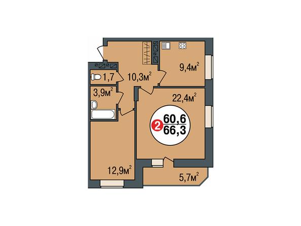 Планировки Жилой комплекс ПОКРОВСКИЙ, б/с 1, 2 - Планировка двухкомнатной квартиры 66,3 кв.м
