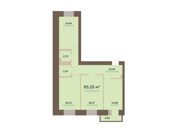 Планировка 3-комн 85,25 м²