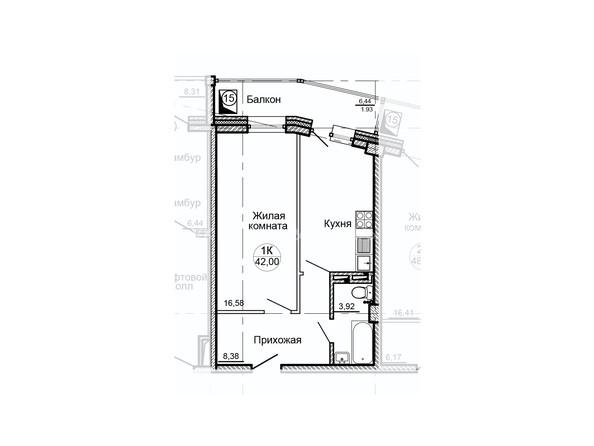 Планировки Жилой комплекс ГЛОБУС, дом 8 - Планировка однокомнатной квартиры 42 кв.м