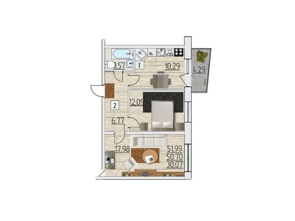 Планировка двухкомнатной квартиры 51,99 кв.м
