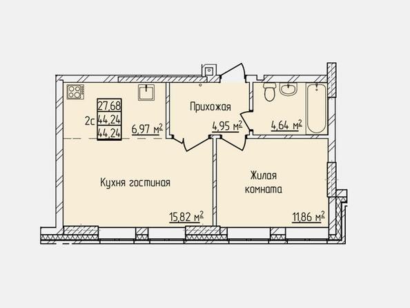 Планировки Жилой комплекс ПРОСВЕЩЕНИЕ - Планировка двухкомнатной квартиры 44,24 кв.м