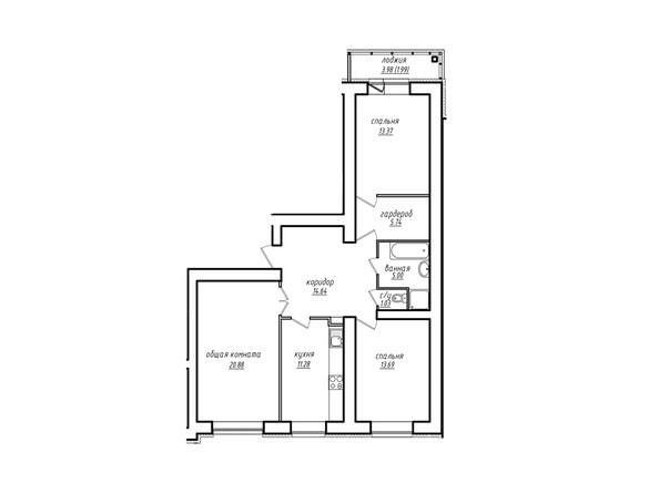 3-комнатная 87.62 кв.м
