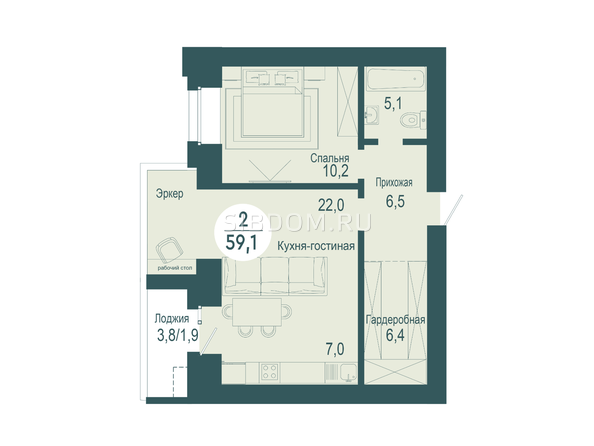 2-комнатная 59,1 кв.м