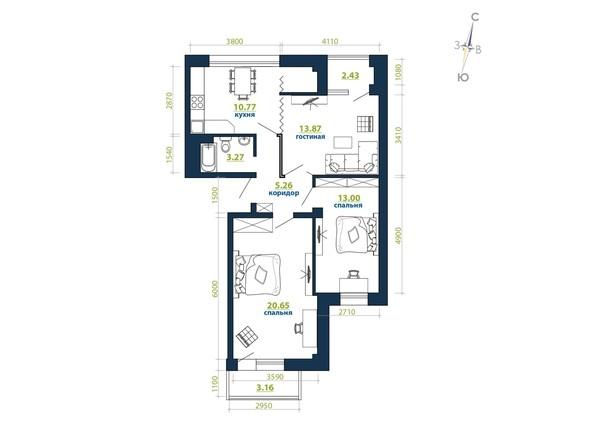 Планировка 3-комн 73,98, 73,99 м²