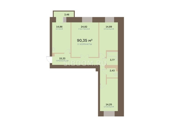 Планировка 3-комн 90,35 м²