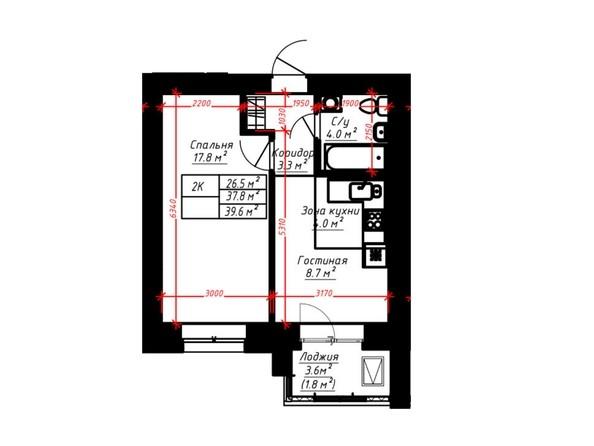2-комнатная 39.6 кв.м